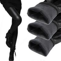 botas de pantalones de cuero negro al por mayor-Polainas de invierno caliente Engrosamiento Polainas de cuero negro Pantalones pitillo cálido Pantalones de mujer Botas Pantalones para mujeres de alta calidad
