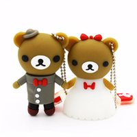 Wholesale Marriage Bears - Lovely Lover Bear USB Flash Drive Cute Cartoon Marriage Bears Pendrives 8GB 16GB 100% Real Capacity Memory Stick 4GB 2GB 1GB Gift