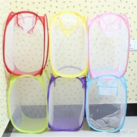 Wholesale pop up clothes wholesale online - Foldable Mesh Laundry Basket Clothes Storage supplies Pop Up Washing Clothes Laundry Basket Bin Hamper Mesh Storage Bag