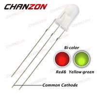Wholesale 5mm Red Green Diffused Led - Wholesale-100pcs 5mm LED Diode Light Common Cathode Red And Yellow Green 5 mm Diffused Bicolor Light-Emitting Diode LED Lamp Wide Angle