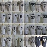 Wholesale Mantle Man - #2 Derek Jeter New York Yankees 3 Babe Ruth 5 Joe Dimaggio 99 Aaron Judge 7 Mickey Mantle Gary Sanchez Throwback Baseball Jerseys