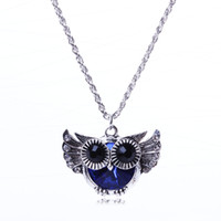Wholesale Owl Flying - Necklaces Pendant Chain Necklace flying owl blue crystal rhinestone bead fashion pendant necklace