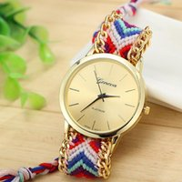 Wholesale Stainless Steel Braided Watches - 13 colors Geneva Ladies Women Weave Dress watch Handmade Braided Hand-Woven fashion 2015 Bracelet quartz rope Watch 100pcs lot