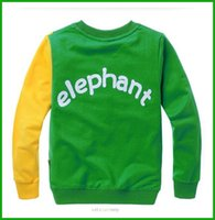 Wholesale Shirt Cotton One Color - fashional baby boys elephant print long tops bright color long-sleeved t-shirts children costumes free shipping one piece available