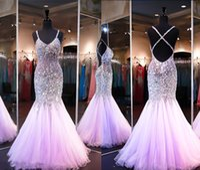 Wholesale Dress Eveni - Glittering 2016 Prom Dresses Mermaid Real Photos Crystals Beads Spaghetti Sleeveless Criss Cross Staps Floor Length 2017 Tulle Pageant Eveni
