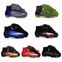 2016 Chaussures de football pour enfants Mercurial Superfly V FG Hommes Femmes Femmes CR7 Superflys Jeunes Soccer Cleats Boys High Ankle Football Boots