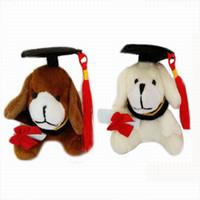 Wholesale Christmas Little Bear Plush - Plush Sweet Little Graduation Dog Toy With Hat and Book 7cm Formatura dog 30Pcs lot