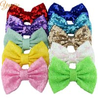 """Wholesale Big Glitter Bows - 31colors 10pcs lot Chic 5"""" Big Sequin Glitter Baby Girl Hair Bow without Clip Trendy DIY Hair Accessories For Kids Headwear"""