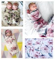 Wholesale thinnest sleeping bag - Newborn Baby Flower Swaddle Wrap Blanket Thin Quilt for Infant Euro America INS Baby Girls Floral Sleeping Bags