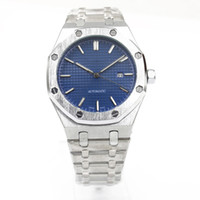 Wholesale Banded Top - Top Luxury mens Brand Automatic Mechanics mens Watches blue dial Stainless Steel Band silver strap watches men free shipping