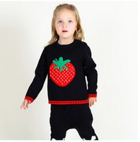 Wholesale Knit Strawberry - INS little children cute knitting sweater autumn winter boys and girls strawberry pullover kids fashion knitting pullover C1093