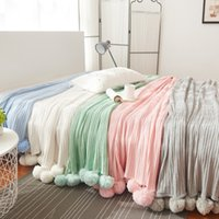 Wholesale Korean Bedspreads - Nice and cute Solid Color With Ball Blanket For Beds Soft 100% Cotton Girl Bedding Warm and Cute Nap Bedspread Washable 2 Size