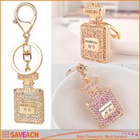 Wholesale Perfume Gift Bags - Perfume Bottle Luxury Keychain Key Chain & Key Ring Holder Car Keyring Porte clef Gift Women Souvenirs Bag Pendant