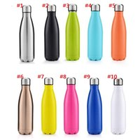 Wholesale Kettle Hot Water Bottle - Hot sale Cola Shaped Water Bottle 500ml Double Wall Stainless Steel Vacuum Stainless Steel Coke Water Bowling Bottles