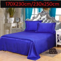 Wholesale Blue white Luxury Brand Flat Sheet Twin Queen King Size sheets Satin Silk Imitation Silk High Quality Bed Sheets Single Double Flat Sheets