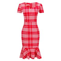 Wholesale ladies wholesale office dresses - Women Office Formal Dress Mermaid Short Sleeve Casual Tunic Bodycon Pencil Party Dresses Fashion Christmas Plaid Polka dot Ladies Clothes