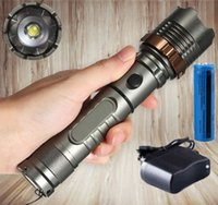Wholesale Bright Led Torches - 3800LM Tactical T6 LED Flashlight Super Bright Cree XML Rechargeable Torch 5Mode SOS + 18650 Battery + Direct Charger