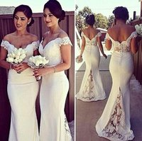 Wholesale Elegant White Corset - Elegant Long Formal Dresses for Women 2016 Lace Off Shoulder Mermaid Sweep Train Corset Bridesmaid Dresses Covered Button Back Sweep Train