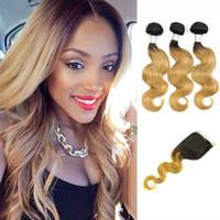 Wholesale Human Hair Closures Blonde - Body Wave T 1B 27 Blonde Ombre Human Hair Weaves Colored Brazilian Hair 3 Bundles with Lace Closure Peruvian Malaysian Indian Cambodian Hair