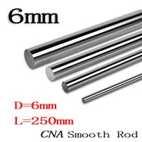 Wholesale linear guide rails - Wholesale- 2pcs lot linear shaft 6mm 250mm rod shaft WCS 6mm linear shaft L250mm chrome plated linear motion guide rail round rod cnc parts