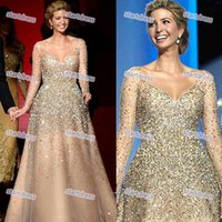 Wholesale Presidents Pictures - US President Daughter Ivanka Trump Celebrity Dresses Champagne Bling Bling Beaded Luxury Floor Length Evening Dresses