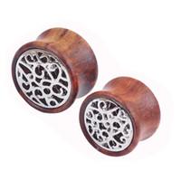 Wholesale 18mm Ear Plugs - 2016 New Spiral wood saddle plug gauges ear plugs flesh tunnel body piercing jewelry 8-18mm piercing ear tunnel