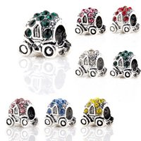 Wholesale pandora car - 925 Silver Big Hole Car Style Charm Pendant Cubic Zircon For Pandora Bracelet Pendant