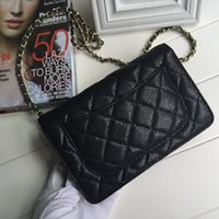 Wholesale Caviar Flap - Free Shipping 20cm Black Caviar Leather Mini Flap Bag Woc Purse Women's Genuine Leather Messenger Bag Long Chain Bag with gold hw