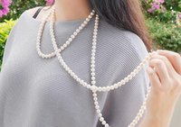 Wholesale Fresh Water Long Necklace - Fresh water pearl necklace 6-7mm close to round with long pearl chain 180mm