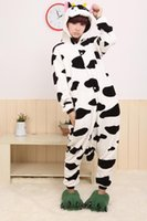 inek kostümü toptan satış-Toptan-Ücretsiz nakliye Animae Hayvan Süt Inek Cosplay Giysi Hayvan toptan Pijama Cadılar Bayramı Kostümleri Yetişkin hayvan pijama tek parça