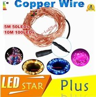 Wholesale Waterproof Dc Strip Led Lights - Wholesale 50pcs 5M 50LED 10M 100LED 100% Waterproof DC 12V Christmas Fairy strip Lights Copper Wire LED Starry String Free Shipping