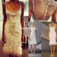 Wholesale Evening Gowns Fur - 2016 Luxury Beaded Short Cocktail Dresses Knee Length Sheath Prom Dresses Evening Party Gown Feathers Vestidos Con Plumas Custom Made