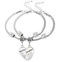 bijoux fantaisie achat en gros de-5 Set / lot Antique Argent Mère Fille Amour Coeur Pendentif Charme Bracelet Bracelet De Mode Bijoux Comme Cadeau De Vacances
