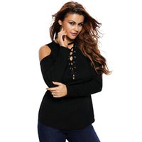 ausschnitt langarm bluse großhandel-Femininas 2017 Herbst Casual Style Plus Langarm Cut-out Schulter Ribbed Top Frauen Bluse 9 Farben Blusas Mujer
