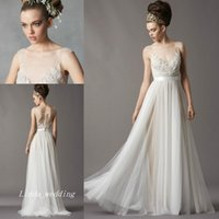 Wholesale Tube Dresses Free Shipping - Free Shipping New Vintage Charming Sheer Transparent Tube Illusion Scoop Neck Lace Beach Casual Bridal Gown Wedding Dress Redo