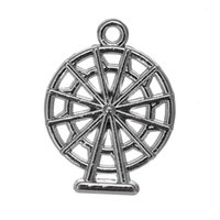 Wholesale Wholesale Wheel Charm - Religious 50pcs a lot Zinc Alloy Floating Antique Silver Plated Ferris Wheel Shape Pendant Charms For Gift DIY Jewelry Findings & Components