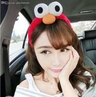Wholesale Hot Sale Korea Lovely Cooki Monster Headwear Exaggerated Big Eyes Funny Eye Sesame Street Plush Hair Accessories Elmo Headband