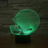 Wholesale Christmas Lights Hat - 2017 Rugby Hat 3D Optical Lamp Night Light 9 LEDs Night Light DC 5V Colorful 3D Lamp