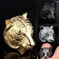 Wholesale Tiger Ring For Men - 2017 New Domineering Tiger Head Ring Stainless Steel Unique Animal Ring For Man Biker Punk Style