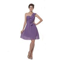 lila brautjungfer stil kleid großhandel-Sonderpreis eine schulter brautjungfer kleid über knielangen lila chiffon einfachen stil dress neue moderne
