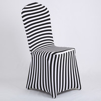 Wholesale Chair Products - New Products Hot Sale Black and White Stripe Print Lycra Chair Cover Arch Front For Wedding Decoration & Party