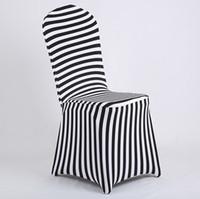 ingrosso copertine calde della sedia di nuziale-Nuovi prodotti Vendita calda Coprisedile in lycra con stampa a righe in bianco e nero