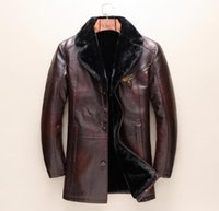 Wholesale Wool Lined Leather Jacket - New Fashion Men's leather Jacket Winter Thacken Warm Coat Embroidery bees Tops Brand G Man Fur Lining Coat Parka