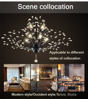 Wholesale Crystal Black Chandelier Lamp - LED Pendant Lights Crystal Glass Chandeliers Lighting Pendant Lamp Ceiling Light Chandelier Lighting Fixture for Living Room Hotel Hall Mall