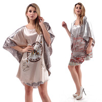 Wholesale Dresses Japanese Kimonos - Wholesale-Women Sleepwear Silk Blend Robe Wrap Dress Nightgown Nightwear Bath Robes Dress Japanese Kimono & Drop shipping