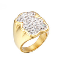 Wholesale Band Ring Women Wide - 2017 New Fashion Design Stainless Steel Women Spanish Wide Band Big white crystal stone Rings Size 6.7.8.9 Jewelry Anillo no fade bear