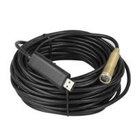 precio del cable led al por mayor-Precio de fábrica 15M Cable USB Cámara de alambre Serpiente Boroscopio Cámara Cam 4 endoscopio LED cámara con cable
