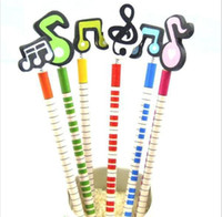 Wholesale Musical Pencil - Kawaii musical note wooden pencil students' drawing pencils stationery set Kid gift G876