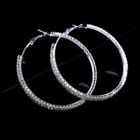 Fashion Big Crystal Earrings Hoops Large Hoop Earrings Silver Oorbellen Rond Creoles For Women Circle Jewelry Wedding Party Accessories