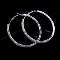 Wholesale Large Silver Crystal Hoop Earrings - Fashion Big Crystal Earrings Hoops Large Hoop Earrings Silver Oorbellen Rond Creoles For Women Circle Jewelry Wedding Party Accessories